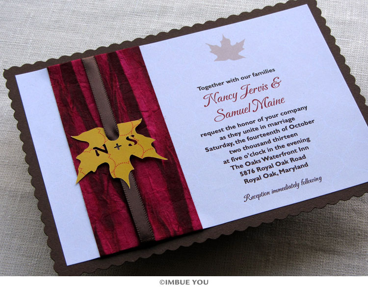 handmade rustic fall wedding invitations
