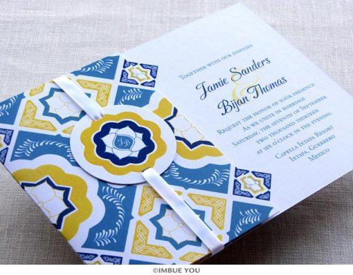 Mexican Talavera Tile Wedding Invitation by Imbue You
