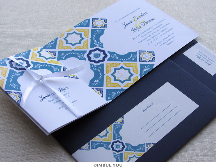Mexican Talavera Tile Wedding Invitation open by Imbue You