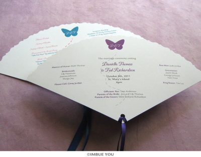butterfly fan wedding program by Imbue You