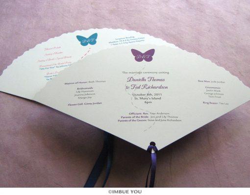 butterfly fan wedding program by Imbue You
