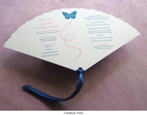 butterfly fan wedding program back by Imbue You