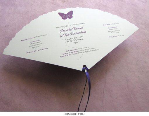 butterfly fan wedding program front by Imbue You