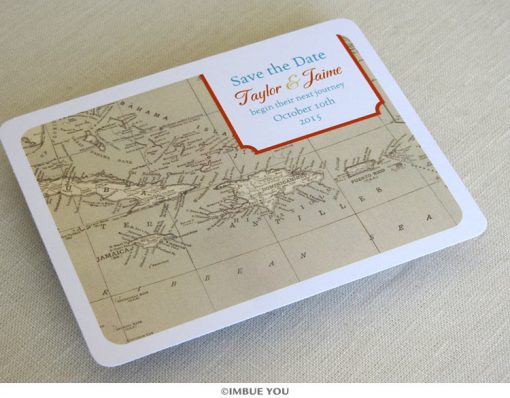 caribbean map save the date postcard front by Imbue You