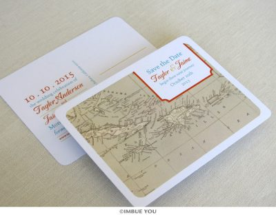 caribbean map save the date postcard by Imbue You