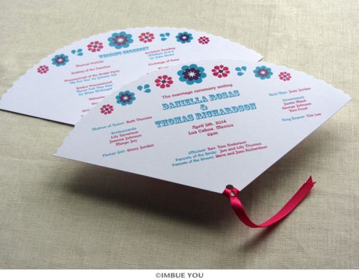 mexican floral tropical fan wedding program by Imbue You