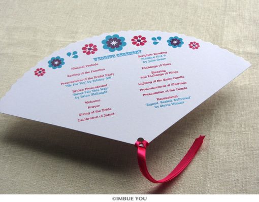 mexican floral tropical fan wedding program back by Imbue You