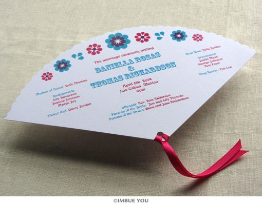 mexican floral tropical fan wedding program front by Imbue You