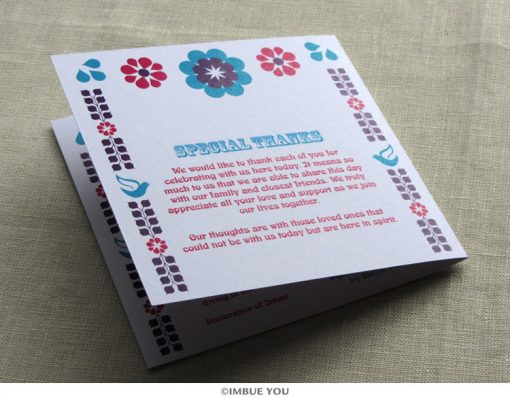 mexican floral tropical wedding program back by Imbue You