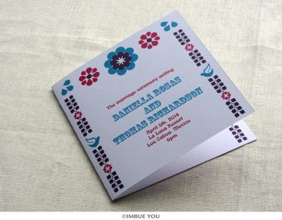 mexican floral tropical wedding program by Imbue You