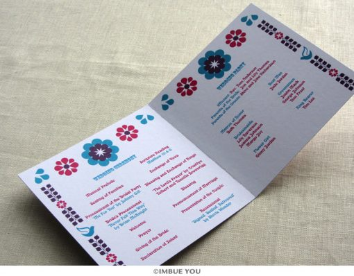 mexican floral tropical wedding program inside by Imbue You