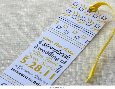 floral save the date bookmark by Imbue You