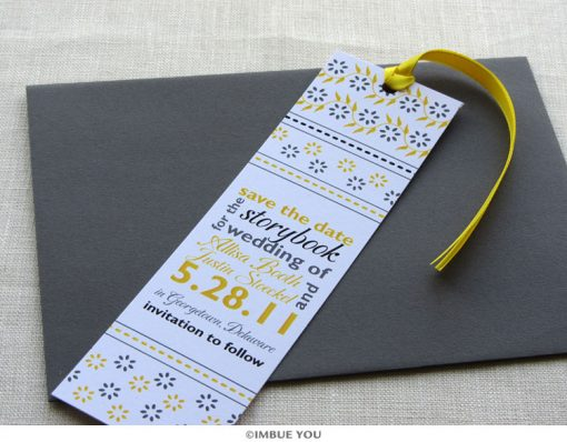 floral save the date bookmark with envelope by Imbue You