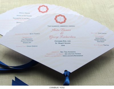 spring summer flower fan wedding program by Imbue You
