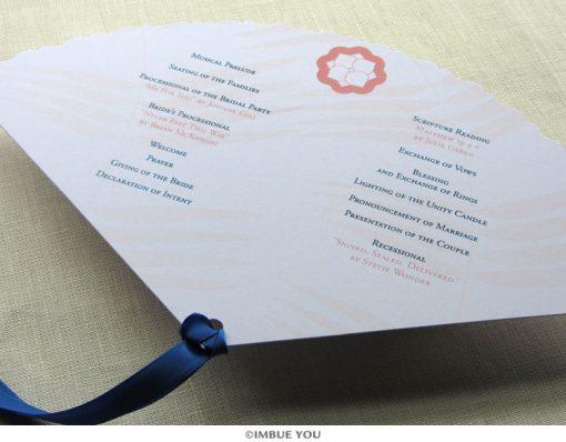 spring summer flower fan wedding program back by Imbue You