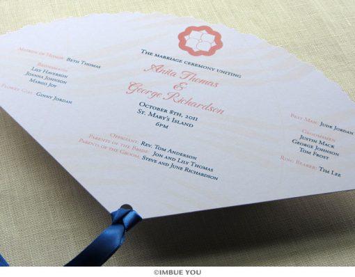 spring summer flower fan wedding program front by Imbue You