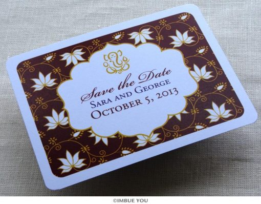 ganesh hindu save the date lotus postcard front by Imbue You