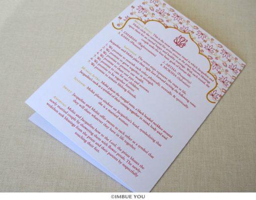 ganesh hindu wedding program folded back by Imbue You