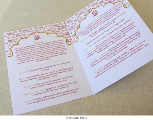 ganesh hindu wedding program inside folded by Imbue You