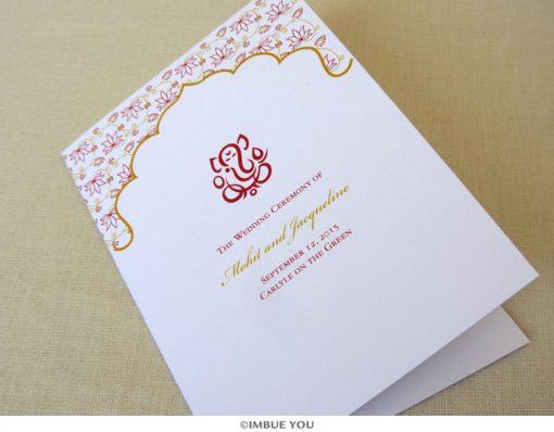 ganesh hindu wedding program folded by Imbue You