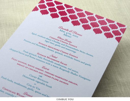 Indian Moroccan menu for dinner or wedding reception by Imbue You