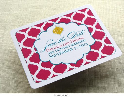 indian save the date elegant postcard monogram front by Imbue You