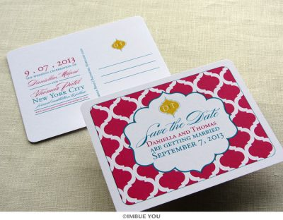 indian save the date elegant monogram postcard by Imbue You