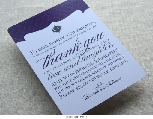 Indian Elegant Monogram Dinner Plate Reception Thank You Card by Imbue You