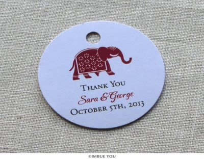indian hindu elephant favor tag or gift tag by Imbue You