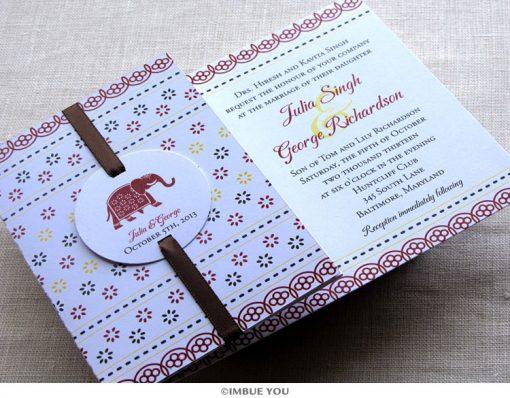 Indian Elephant Wedding Invitation by Imbue You