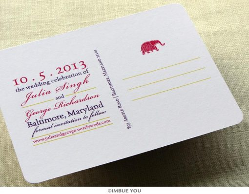 indian elephant save the date postcard back by Imbue You