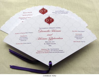 indian monogram fan wedding program by Imbue You