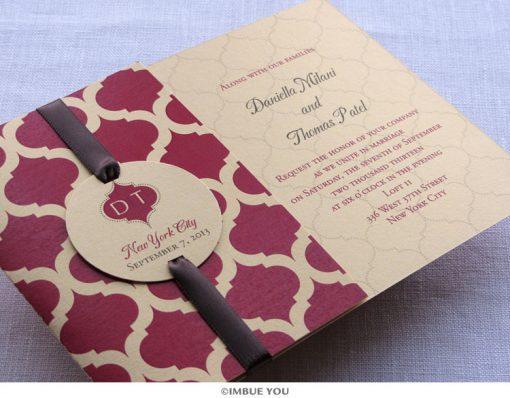 Indian Monogram Folded Wedding Invitation by Imbue You