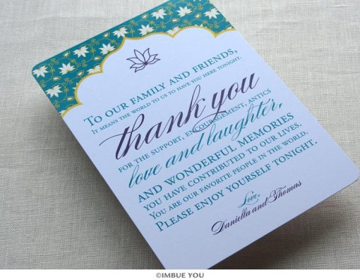 Indian Lotus Dinner Plate Reception Thank You Card by Imbue You