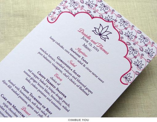 Indian lotus menu for dinner or wedding reception by Imbue You