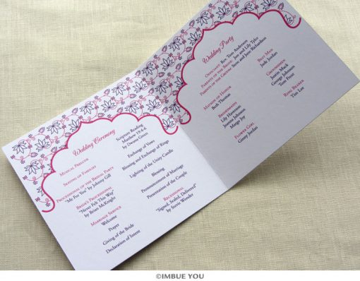 indian lotus wedding program inside by Imbue You