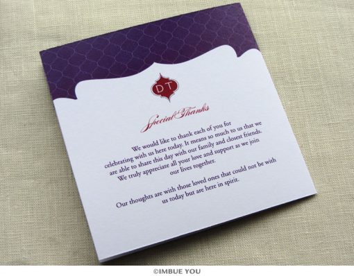 indian monogram wedding program back by Imbue You