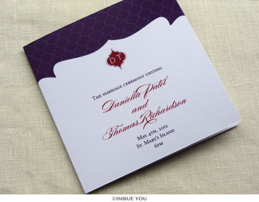 indian monogram wedding program by Imbue You