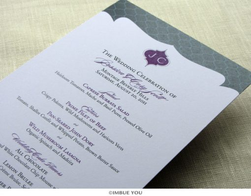 Indian monogram elegant menu for dinner or wedding reception by Imbue You