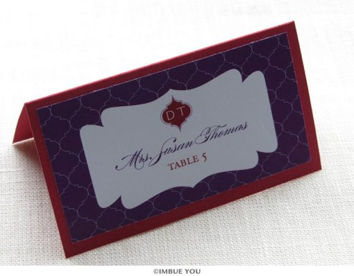 Indian elegant monogram place card or escort card by Imbue You
