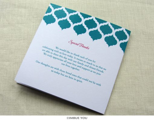 indian vintage wedding program square back by Imbue You