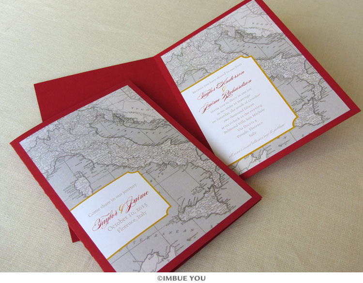 italy map vintage wedding invitation booklet by Imbue You