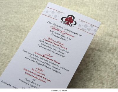 Las Vegas menu for dinner or wedding reception by Imbue You
