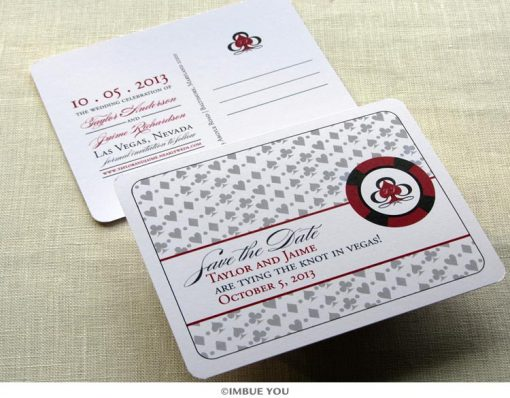 las vegas save the date monogram postcard by Imbue You