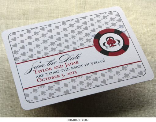 las vegas save the date monogram postcard front by Imbue You