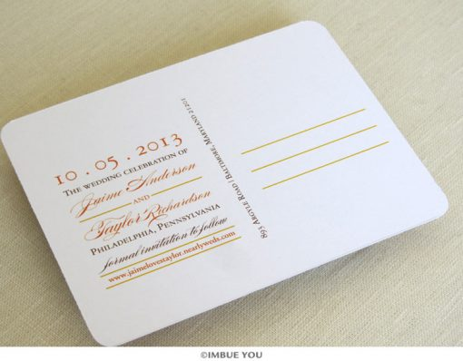 fall rustic laurel save the date back elegant by Imbue You