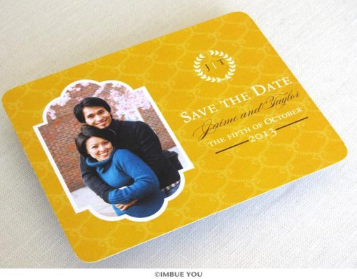 fall laurel save the date photo postcard front by Imbue You