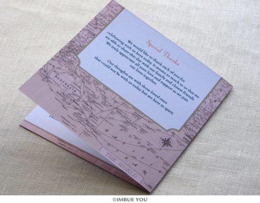 vintage map wedding program back by Imbue You