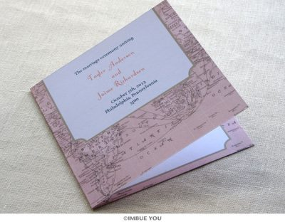vintage map wedding program by Imbue You