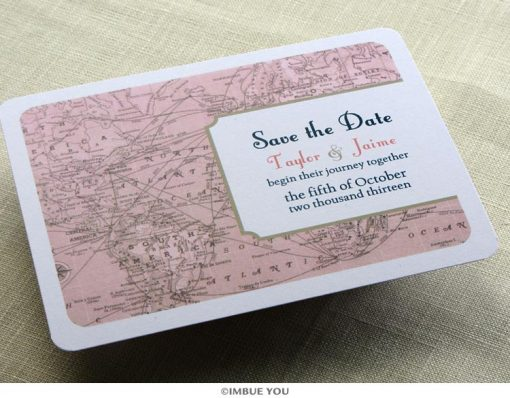 vintage map save the date postcard front by Imbue You